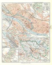 Historische Stadtkarte 1908: Bremen. Stadtplan farbig Freie Hansestadt (Mkl7)