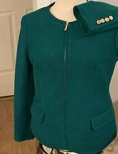 NWOT Talbots Sz 8  Green Green Blazer Zip  Jacket Lining Tweed Holidays