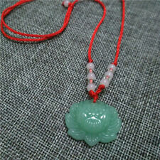 Vintage Natural Luck Green Jade Lotus Pendant Necklace Fashion Lucky Charm