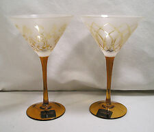 2 Martini Glasses by Mikasa, Cheers Artistry Frosted Tapestry Amber Gold Stemed