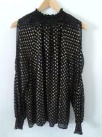 Rose + Olive Womens Long Sleeves Cold Shoulder Blouse Large Black and Gold Lined