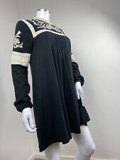 Topshop Dress UK 14 Black Cream Crochet Prairie Boho Floral Hippie 1960s Style