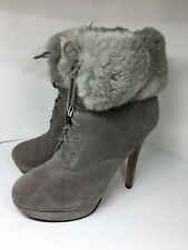 Basilia European Style Suede Boots with Rabbit Fur High Heels size 8.5 EUR 39
