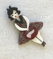 Adorable Lady Pin Brooch In acrylic