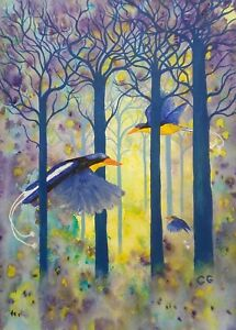 Kingfishers Painting-Print from my Watercolour Painting -A4 21x30cm free postage