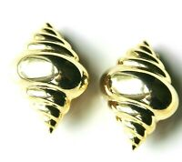 Vintage KJL Kenneth Lane High Polished Gold Plated Seashell Clip-On Earrings