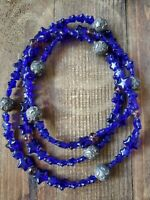 36 Inch Cobalt Blue Glass Necklace With Silver Star Beads