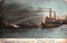 1908 Fire Boat in Action North River DL&WRR Fire Hoboken NJ post card