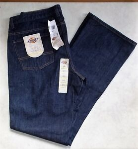 DICKIES 5-POCKET WOMEN'S JEANS DARK WASH RELAXED FIT BOOT CUT 12 TALL