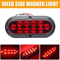 2X 10 LED Oval Tail Light Trailer Van Caravan Truck RV Side Marker Light Red