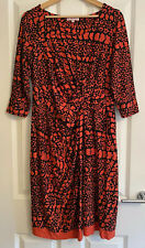 Womens Marks And Spencer Per Una Size 14L Long Orange Black Print Tie Dress