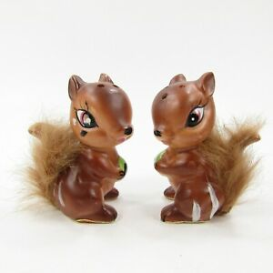 Vintage Salt Pepper Shakers Set Enesco Squirrels Chipmunks Furry Tails   Inv363