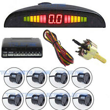12V 8 black parking sensor automatic front / rear reverse alarm system kit