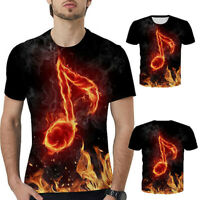 3D Print Music Symbol T-Shirt Unisex Casual Short Sleeve Tops Summer Tee New Hot
