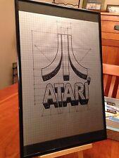 """BIG 11X17 FRAMED ORIGINAL & RARE CLASSIC """"ATARI"""" 2600 VIDEO GAME LOGO PROMO AD"""