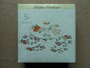 HOME ESSENTIALS GOLDEN ORCHARD HAND PAINTED 5-PIECE DESSERT / CAKE SET *NEW*