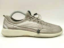 Ecco Logo Gold Leather Adjustable Fit Slip On Sneakers Shoes Womens 39 / 8 - 8.5