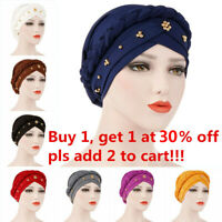 Muslim Women Turban Cap Wrap Head Scarf Hair Loss Cancer Chemo Hat Beads Braid