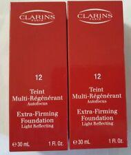 2 × CLARINS Extra-Firming Foundation/ Light Reflecting # 12 Caramel, 2×30ml.