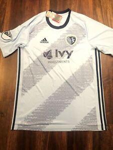 New Adidas Mens Kansas City Sporting Soccer Jersey Shirt Size XL Light Blue