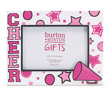 "Cheer Holds a 4x6"" Photo Pink White Stars Megaphone Cheerleader Picture Frame"