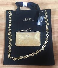 NEW LOT OF 2 MARC JACOBS DAISY BLACK CANVAS SHOPPER BAG+GOLD COSMETIC BAG CASE
