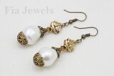 Orecchini stile decò bronzo perle e cristalli earrings decò style