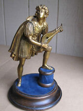 ANTIQUE BRONZE FIGURE: LUTE PLAYER,VERY FINE !