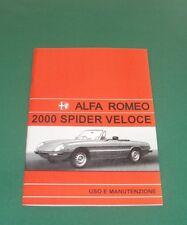 Uso e manutenzione Alfa Romeo 2000 Spider Veloce Owner's manual -