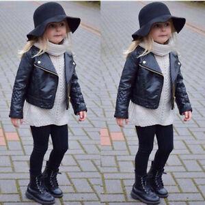Toddler Baby Girls Black Faux Leather Warm Biker Jacket Coat Windproof Outwear