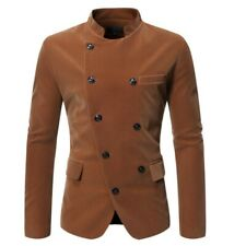 Men's Double Breasted Stand collar Blazer Jacket Slim Fit Stage Costume Casual L