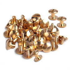 20x Round Head Bag Wallet Leather Belt Solid Brass Nail Rivets Screw DIY Button