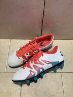 Adidas X 15.4 ~White Neon Red Blue Indoor Soccer Cleats Trainers~ Size US-7.5
