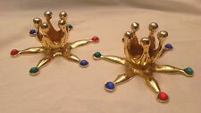 Candle Holders,Set of Two,Metal,Christmas,Gold,Green,Blue,Red,New Year's Eve