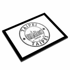 A3 Glass Frame BW - Taipei Taiwan Travel Stamp  #39861