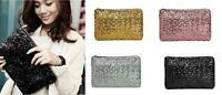 Women Ladies Glitter Sparkling Sequins Evening Party Clutch Bag Purse