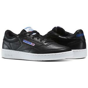 REEBOK MEN'S CLUB C 85 SO TRAINERS SHOES SNEAKERS BLACK WHITE RETRO VINTAGE NEW