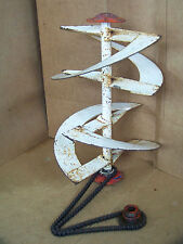 Vintage Machine Age Steampunk Industrial Gear Chain Spiral Lamp Stand Steel Art