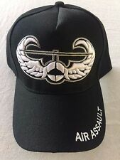 AIR ASSAULT US MILITARY Embroidered hat Baseball cap BLACK WHITE adjustable