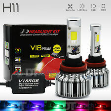 2 in 1 H11 100W 10000LM CREE LED Headlight Kit+RGB Bluetooth Phone Control