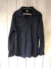 Rock Republic Western Style Dress Shirt Mens Size XL Blue Check Cotton L-708