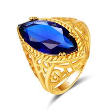 ciruela Reino Unido Oro Amarillo De 18k Gf Anillo-Rosa Marquise Sim Zafiros Tamaño P En Caja R109