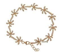 ROSE GOLD PLATE 925 SILVER HAWAIIAN PALM TREE LINK BRACELET CZ 7.5 INCH