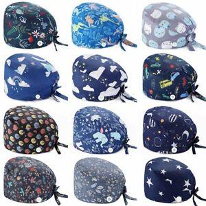 Unisex Surgery Scrub Hats Buttons Hat Hospital Doctor Nurse Medical Working Cap