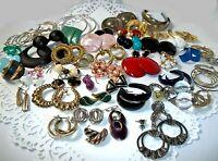Vintage Now Costume Earrngs Lot Gold Tone Silver Enamel Hoops Pierced Clip On