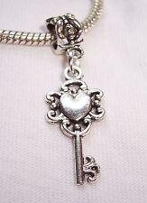 Heart Key Antique Skeleton Filigree Dangle Bead fits European Charm Bracelets