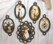 Custom Fatima Bronze Rosary Parts~Center & 4 Pater Picture Medals~Free Shipping