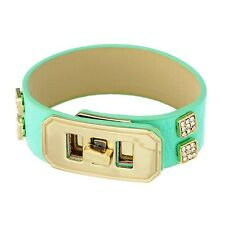 Adjustable Mint Green Gold Clear Rhinestone Belt Faux Leather Jewelry Bracelet
