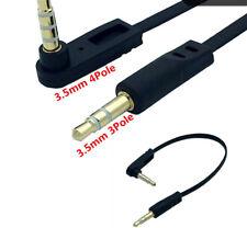 3.5mm 4 Pole Angle Male to 3.5mm 3 Pole Male Stereo Headphone Audio Flat Cable