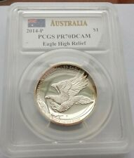 2014-P Australian $1 Silver Wedge-Tailed Eagle High Relief coin - PCGS PR70DCAM
